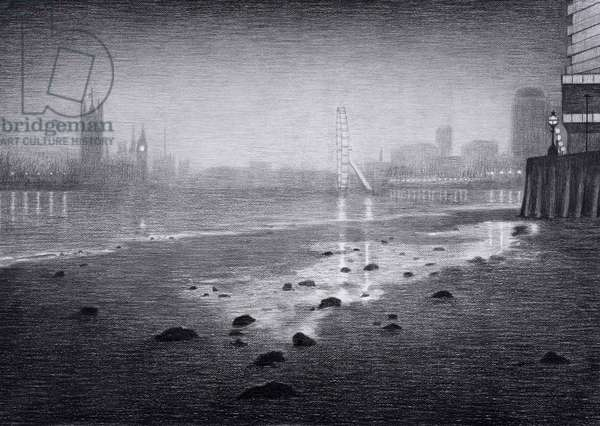 The Thames at Vauxhall, 2017, charcoal on paper, (detail from The Masque of Blackness) Photo credit Justin Piperger