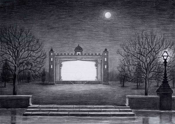 Theatre by the Thames, 2014, charcaol on paper (detail from the hand drawn animation The Masque of Blackness Photo credit: Justin Piperger