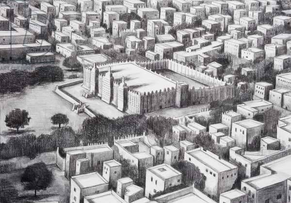 Timbuktu Mosque Aerial View, 2018, charcoal on paper (from the hand drawn animation The Masque of Blackness)