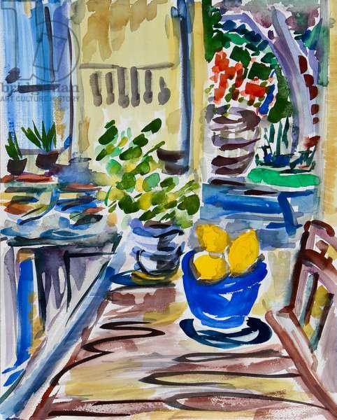 Lemons in Blue Bowl, 2021 (w/c on paper)