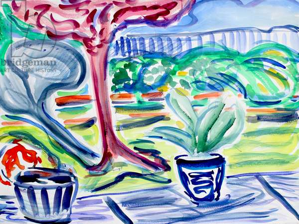Backyard with Plum Tree, 2020, (watercolor on paper)