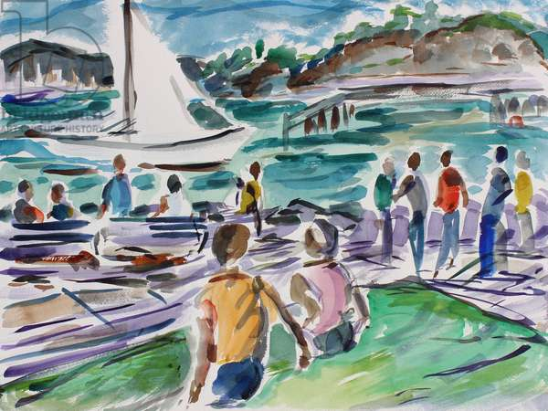 Tiburon Promenade, 2017, (watercolor on paper)