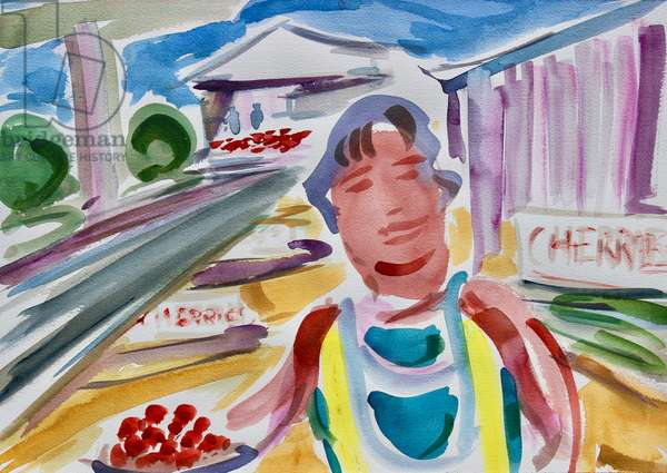 Cherry Seller by the Highway, 2020, (watercolor on paper)