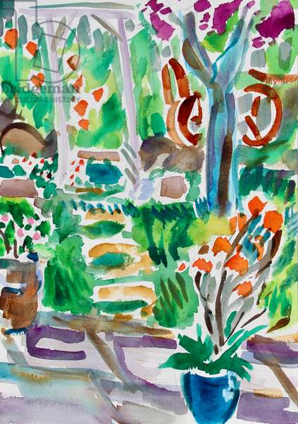 Garden Path and Trellis, 2020, (watercolor on paper)