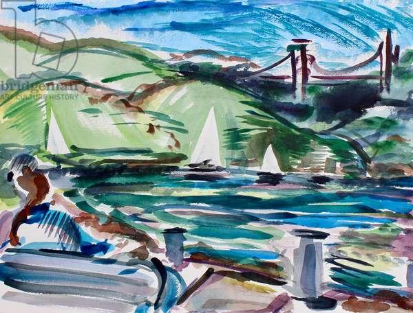 Sailboats, Tiburon, 2017, (watercolor on paper)