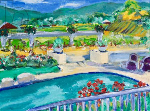 Backyard, Napa, 2019, (oil on canvas)