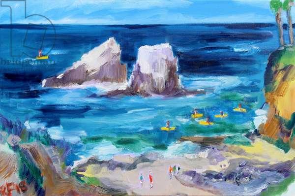 Seal Rock, Laguna, 2018, (oil on canvas)
