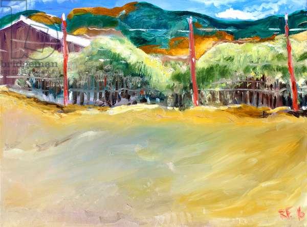 Vineyard, Sonoma, 2017, (oil on canvas)