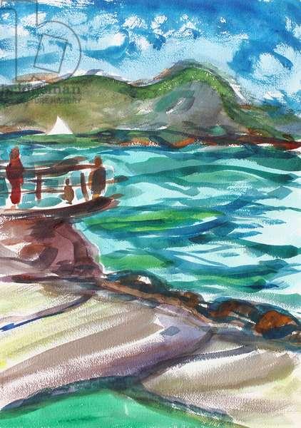 Elephant Rock, Tiburon, 2020, (watercolor on paper)