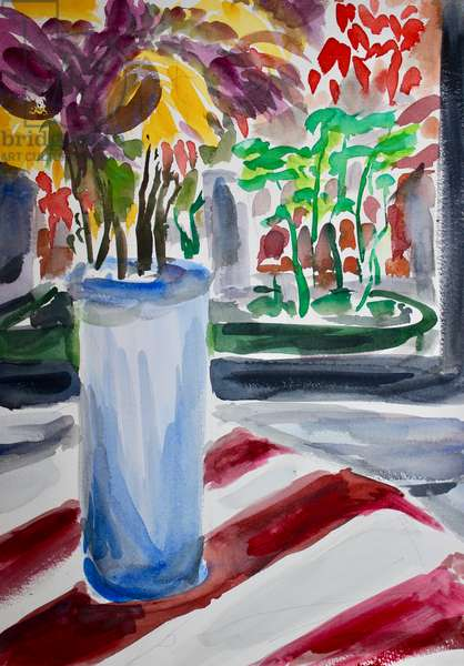 Blue Vase and Windowbox, 2015, (watercolor on paper)