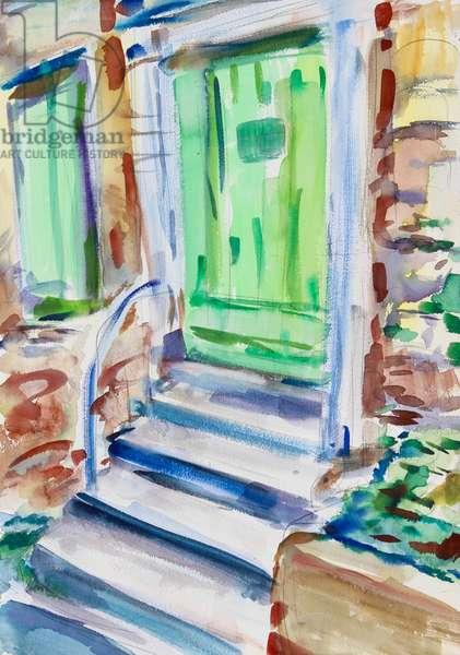 Green Door and Shutters, 2021 (w/c on paper)