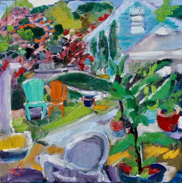 Backyard, West Hollywood, 2018, (oil on canvas)