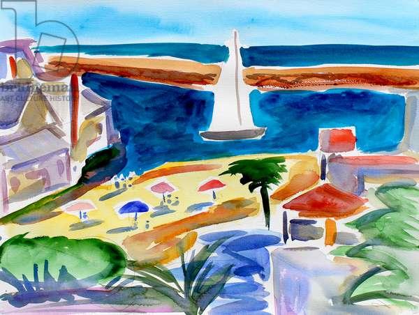 Corona del Mar, Newport Beach, 2018, (watercolor on paper)