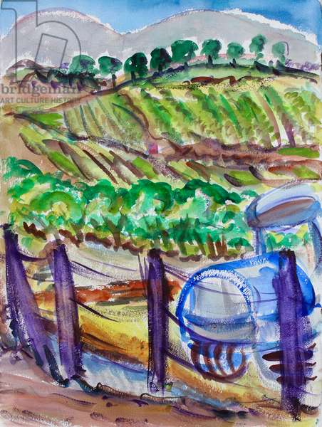 Blue Tractor, Napa Valley, 2017, (watercolor on paper)