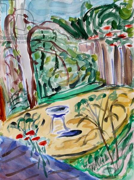Birdbath, 2020, (watercolor on paper)