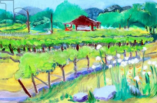 Vineyard on Zinfandel Lane, Napa, 2019, (oil on canvas)