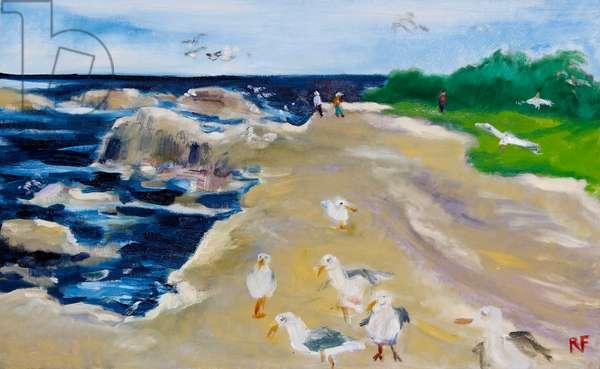 Seagulls, Monterey, 2020, (oil on canvas)