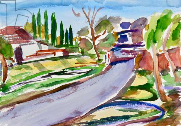 Back Road with Shadows, 2017, (watercolor on paper)