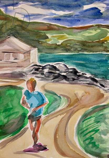 Jogger, Tiburon, 2017, (watercolor on paper)