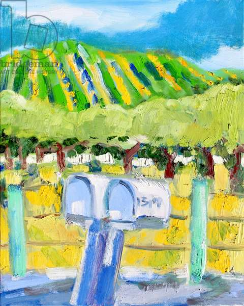 Mailboxes and Vineyard, Napa, 2019, (oil on canvas)