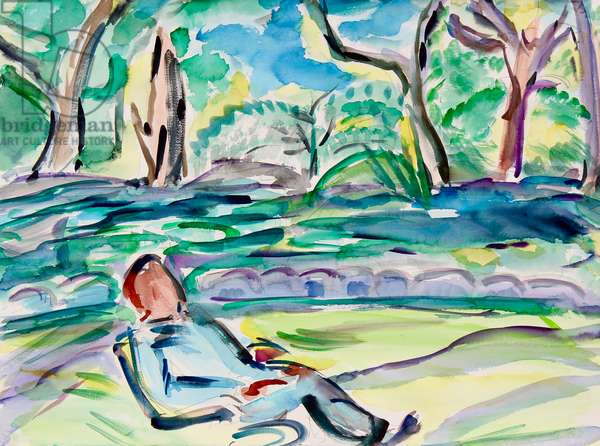 Relaxing by the River, 2020, (watercolor on paper)
