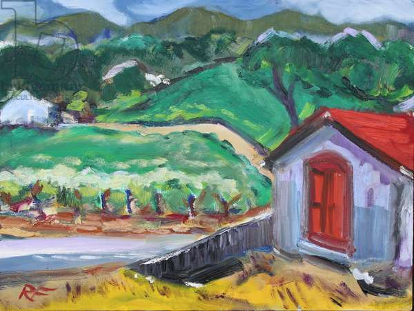 The Red Door, Sonoma, 2017, (oil on canvas)