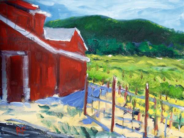 The Red Barn, Napa, 2019, (oil on canvas)