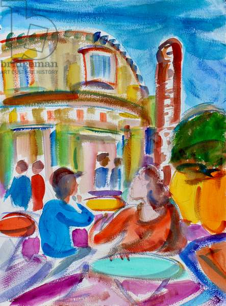 Cafe in the Castro, San Francisco, 2018, (watercolor on paper)