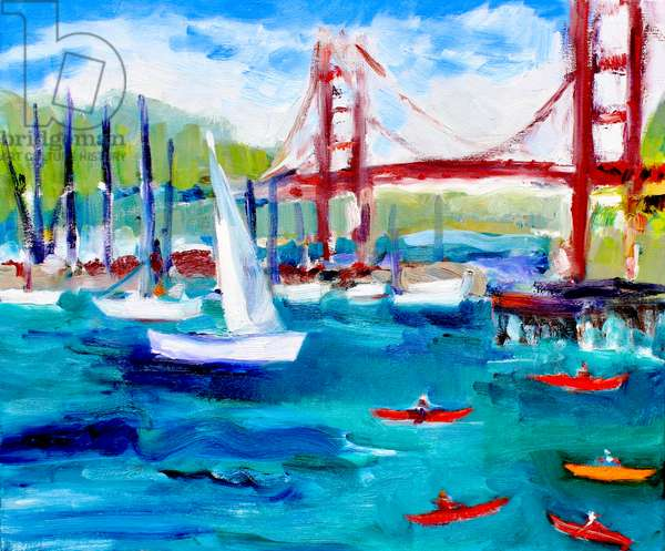 Golden Gate Bridge in Fog, 2019, (oil on canvas)