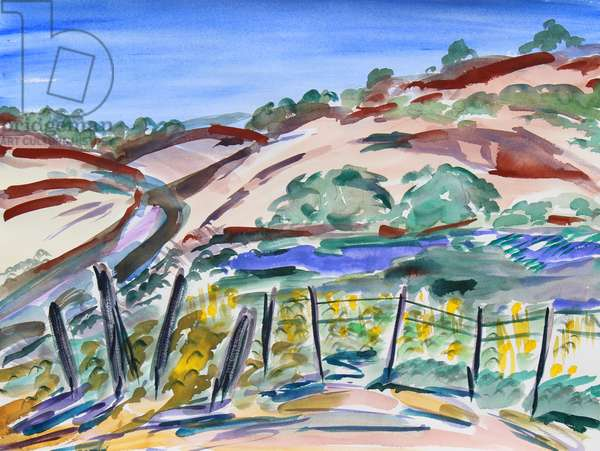 Dry Hills, Northern California, 2021 (w/c on paper)