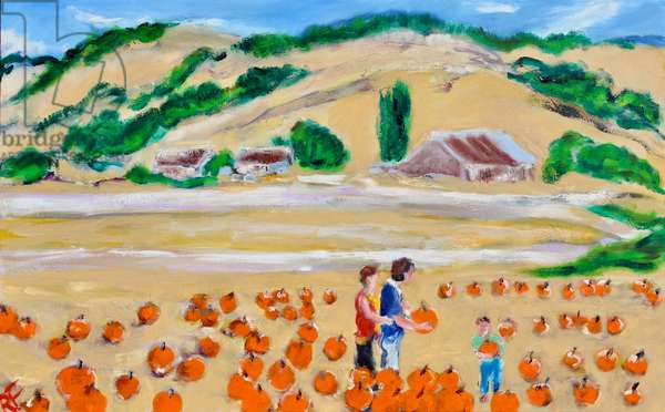 Picking a Pumpkin, Nicasio, 2018, (oil on canvas)
