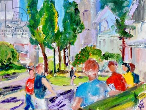 Washington Square Park, San Francisco, 2018, (oil on canvas)