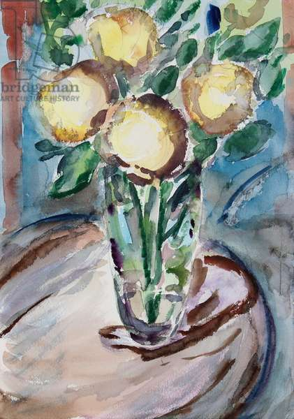 Flowers on End Table, 2020, (watercolor on paper)