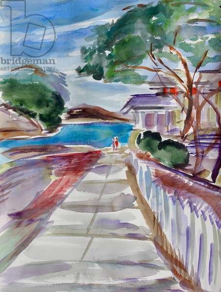 Path to the Estuary, Benicia, 2017, (watercolor on paper)