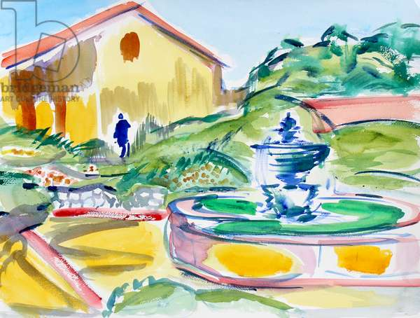Father Serra Statue and Fountain, Carmel Mission, 2019, (watercolor on paper)