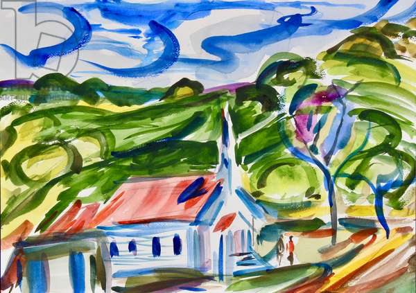 St. Mary's, Nicasio, 2020, (watercolor on paper)