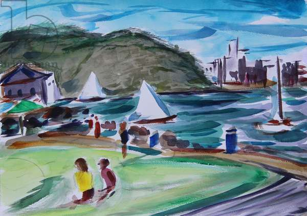 Bay, Tiburon, 2020, (watercolor on paper)