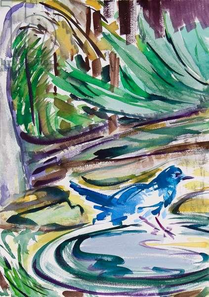 Birdbath, 2021 (w/c on paper)