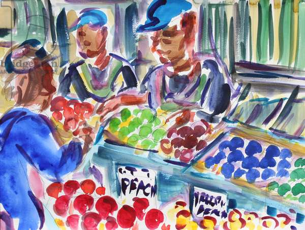 Fruit Sellers, 2020, (watercolor on paper)