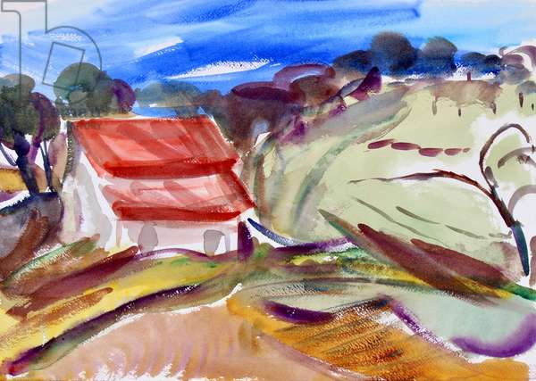 House with Red Roof, Sonoma, 2018, (watercolor on paper)