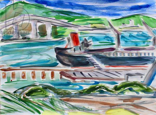 Ship to Shore, 2020, (watercolor on paper)