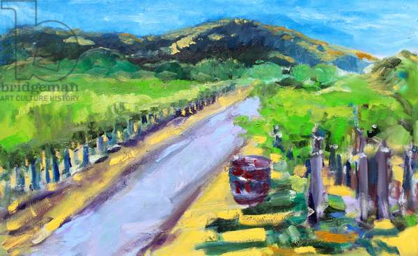 Vineyard with Barrel, Napa, 2019, (oil on canvas)