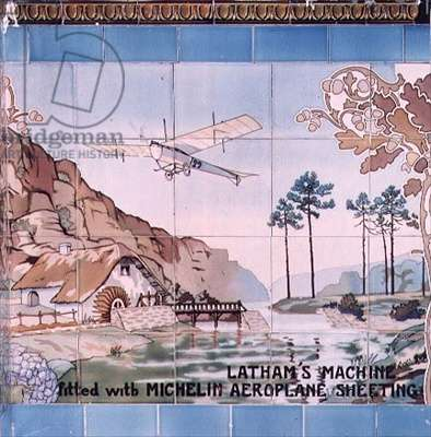 Latham's Machine, fited with Michelin aeroplane sheeting: ceramic tiles manufactured by Gilardoni Fils et Cie, after a drawing by Ernest Montaut (1877-1909), 1908-10