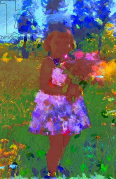 Girl with a bouquet in the garden,2020,(mixed media)