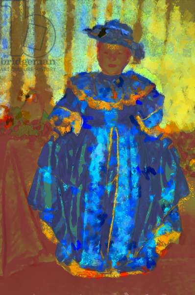 Girl in the blue dress and hat,2020,(mixed media)