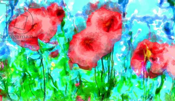 Poppies and clouds,2020,(mixed media)