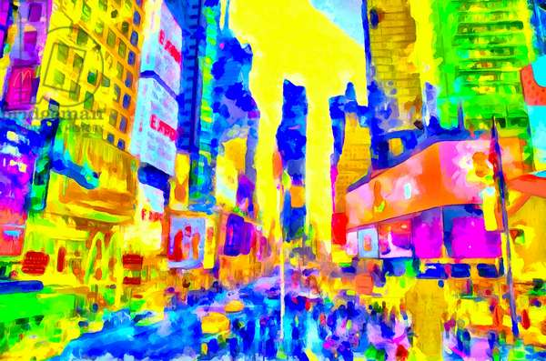 Yellow skies and blue street, 2020 (mixed media)