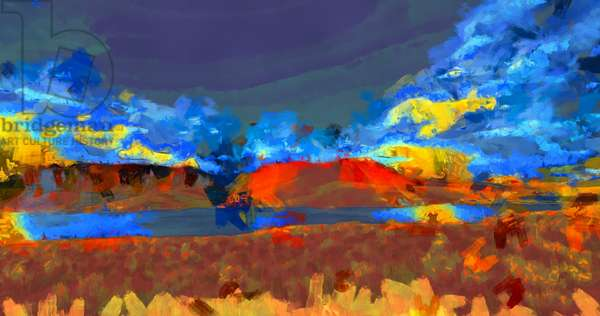Landscape with lake,2020,(mixed media)