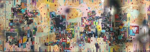 """WXT-0303"", 2003, mixed media on wood panel"