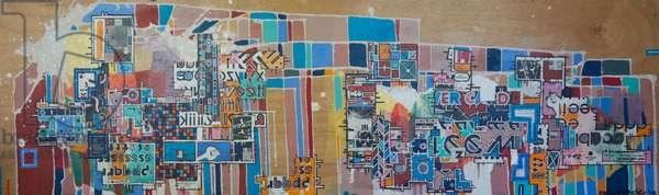 """RBB-19, 2003, mixed media on wood panel"